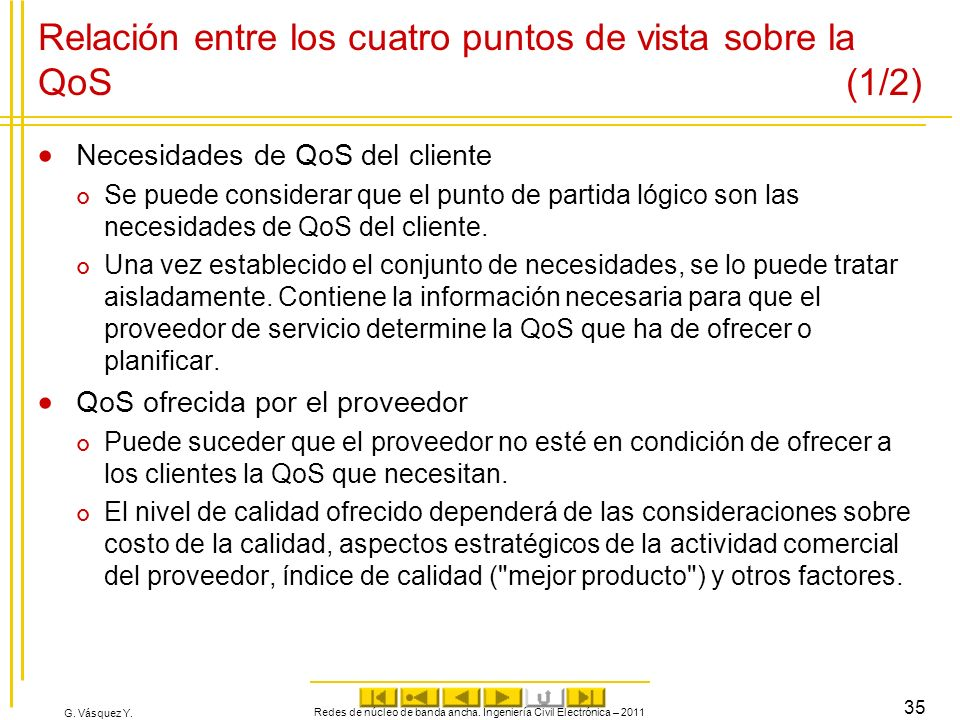G. Vásquez Y. Relación entre los cuatro puntos de vista sobre la QoS (1/2) Necesidades de QoS del cliente Se puede considerar que el punto de partida