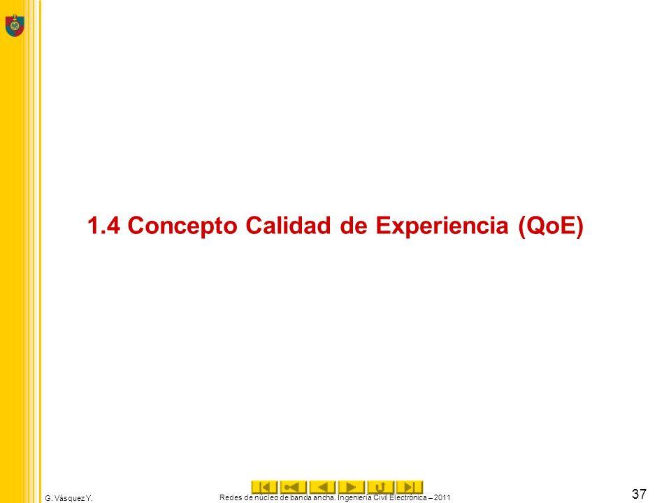 G. Vásquez Y. Redes de núcleo de banda ancha. Ingeniería Civil Electrónica – 2011 37 1.4 Concepto Calidad de Experiencia (QoE)