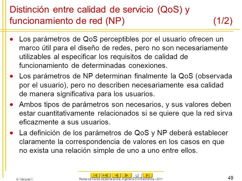 G. Vásquez Y. Distinción entre calidad de servicio (QoS) y funcionamiento de red (NP) (1/2) Los parámetros de QoS perceptibles por el usuario ofrecen