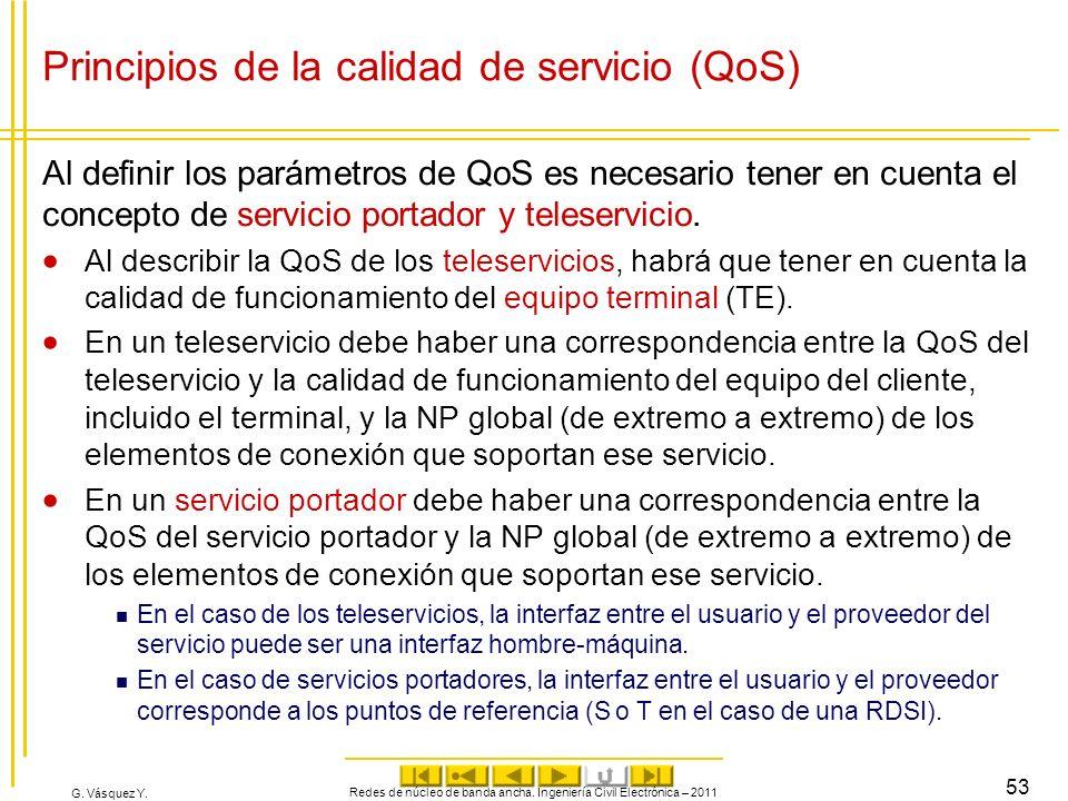 G. Vásquez Y. Principios de la calidad de servicio (QoS) Al definir los parámetros de QoS es necesario tener en cuenta el concepto de servicio portado