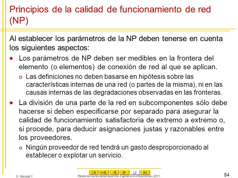 G. Vásquez Y. Principios de la calidad de funcionamiento de red (NP) Al establecer los parámetros de la NP deben tenerse en cuenta los siguientes aspe