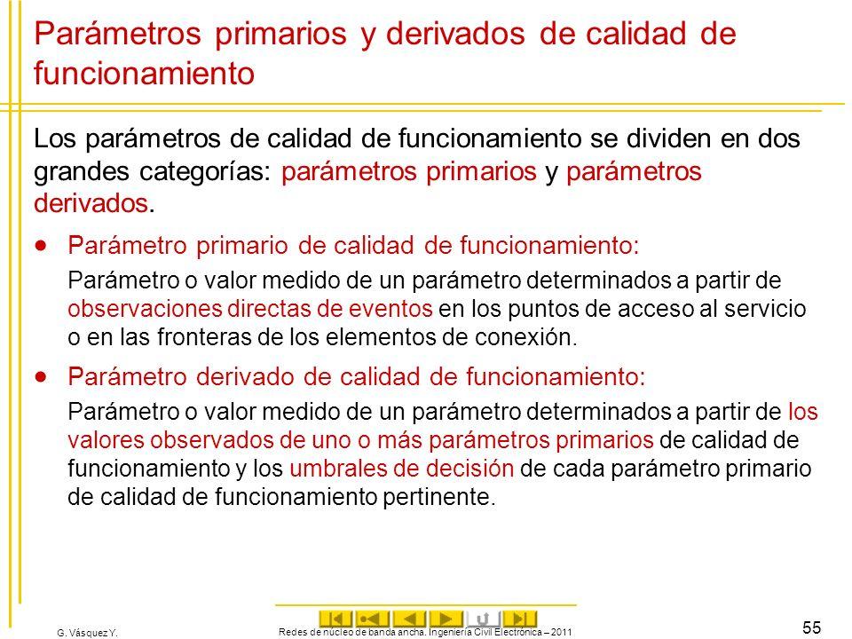 G. Vásquez Y. Parámetros primarios y derivados de calidad de funcionamiento Los parámetros de calidad de funcionamiento se dividen en dos grandes cate