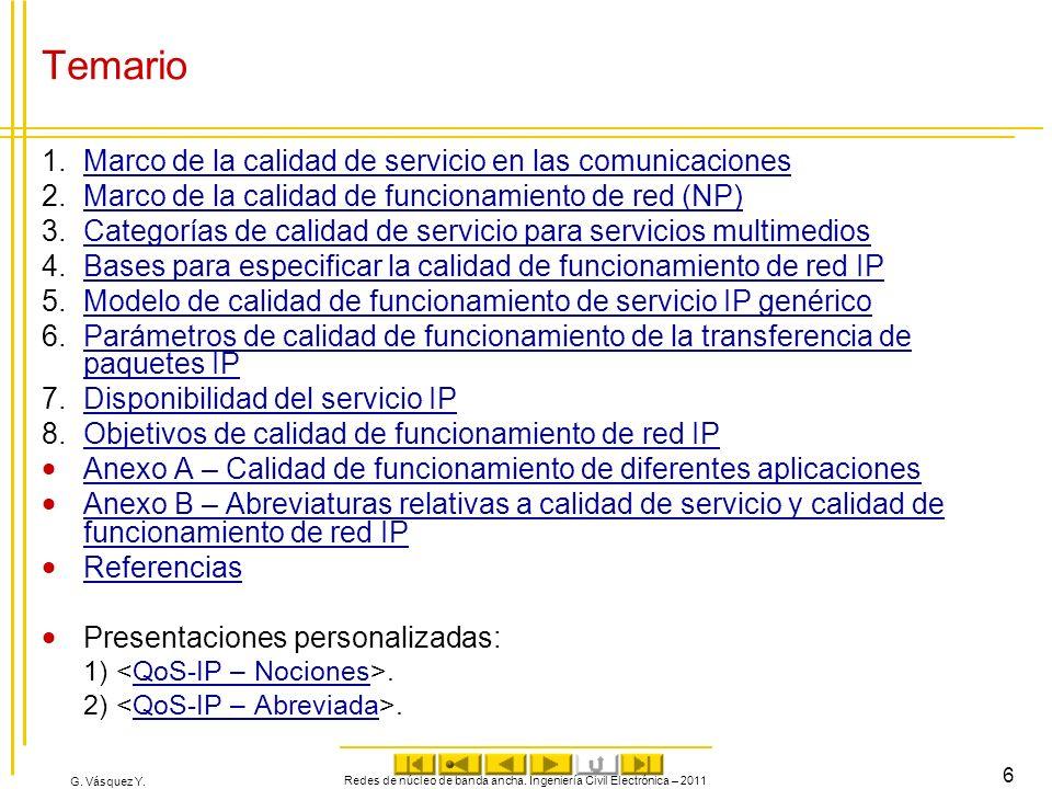 G. Vásquez Y. Temario 1.Marco de la calidad de servicio en las comunicacionesMarco de la calidad de servicio en las comunicaciones 2.Marco de la calid
