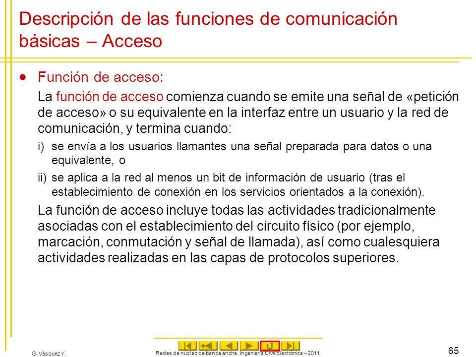 G. Vásquez Y. Descripción de las funciones de comunicación básicas – Acceso Función de acceso: La función de acceso comienza cuando se emite una señal