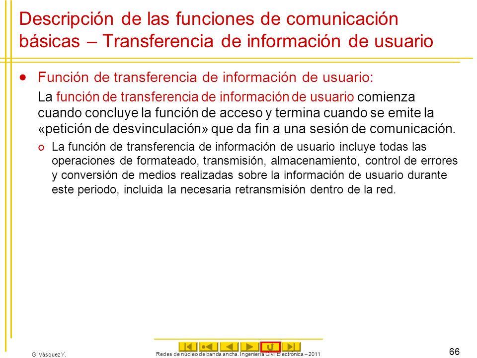 G. Vásquez Y. Descripción de las funciones de comunicación básicas – Transferencia de información de usuario Función de transferencia de información d