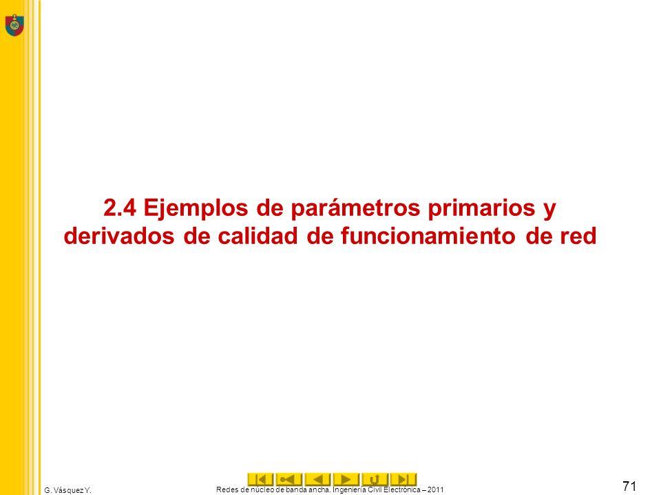 G. Vásquez Y. 2.4 Ejemplos de parámetros primarios y derivados de calidad de funcionamiento de red Redes de núcleo de banda ancha. Ingeniería Civil El