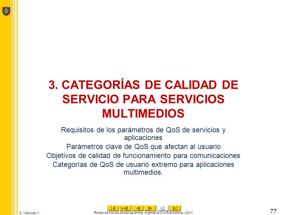 G. Vásquez Y. 3. CATEGORÍAS DE CALIDAD DE SERVICIO PARA SERVICIOS MULTIMEDIOS Requisitos de los parámetros de QoS de servicios y aplicaciones Parámetr