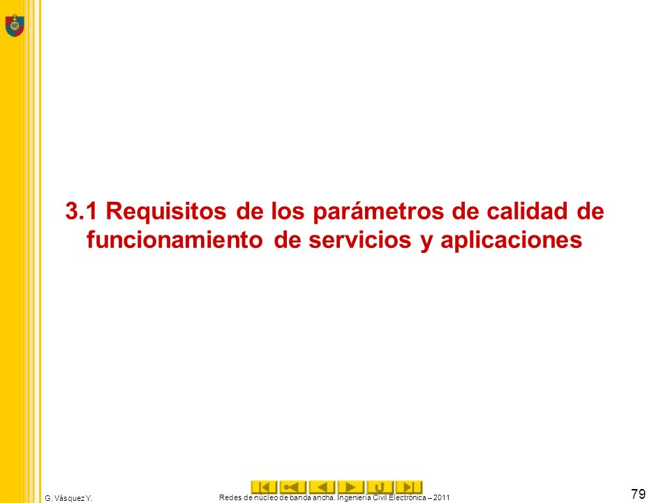 G. Vásquez Y. 3.1 Requisitos de los parámetros de calidad de funcionamiento de servicios y aplicaciones Redes de núcleo de banda ancha. Ingeniería Civ