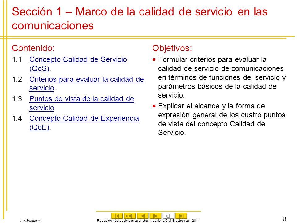 G. Vásquez Y. Sección 1 – Marco de la calidad de servicio en las comunicaciones Contenido: 1.1Concepto Calidad de Servicio (QoS).Concepto Calidad de S