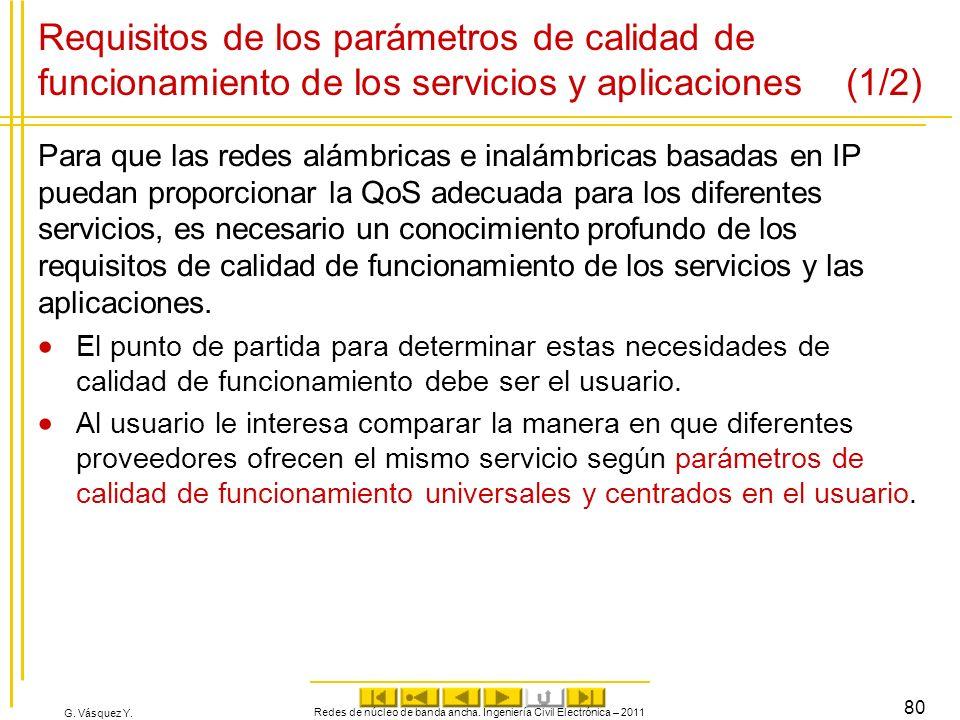 G. Vásquez Y. Requisitos de los parámetros de calidad de funcionamiento de los servicios y aplicaciones (1/2) Para que las redes alámbricas e inalámbr