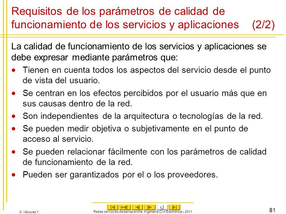 G. Vásquez Y. Requisitos de los parámetros de calidad de funcionamiento de los servicios y aplicaciones (2/2) La calidad de funcionamiento de los serv