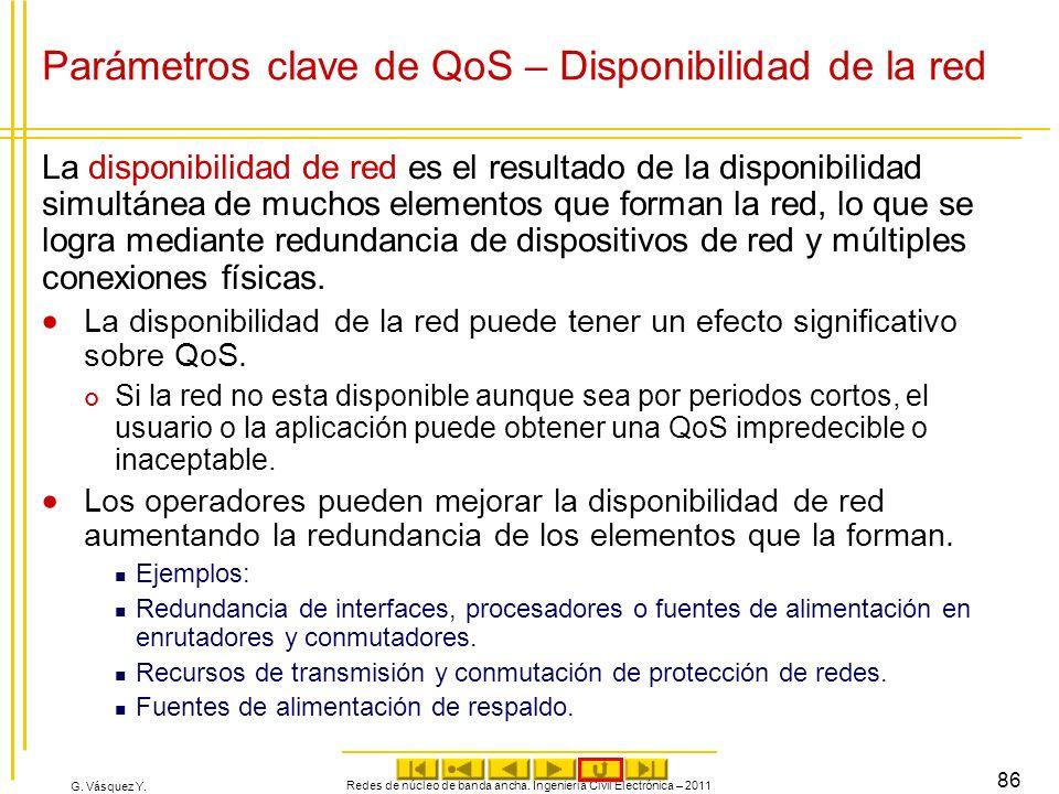 G. Vásquez Y. Parámetros clave de QoS – Disponibilidad de la red La disponibilidad de red es el resultado de la disponibilidad simultánea de muchos el