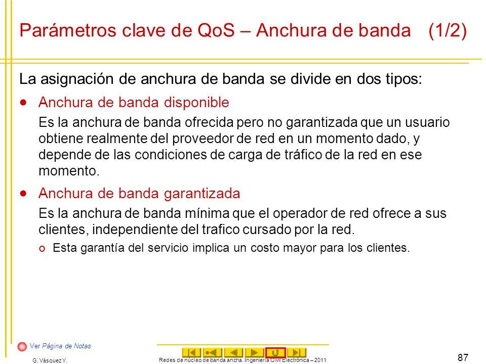 G. Vásquez Y. Parámetros clave de QoS – Anchura de banda(1/2) La asignación de anchura de banda se divide en dos tipos: Anchura de banda disponible Es