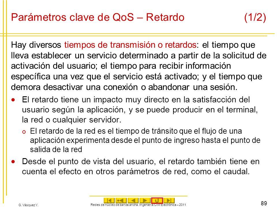 G. Vásquez Y. Parámetros clave de QoS – Retardo (1/2) Hay diversos tiempos de transmisión o retardos: el tiempo que lleva establecer un servicio deter