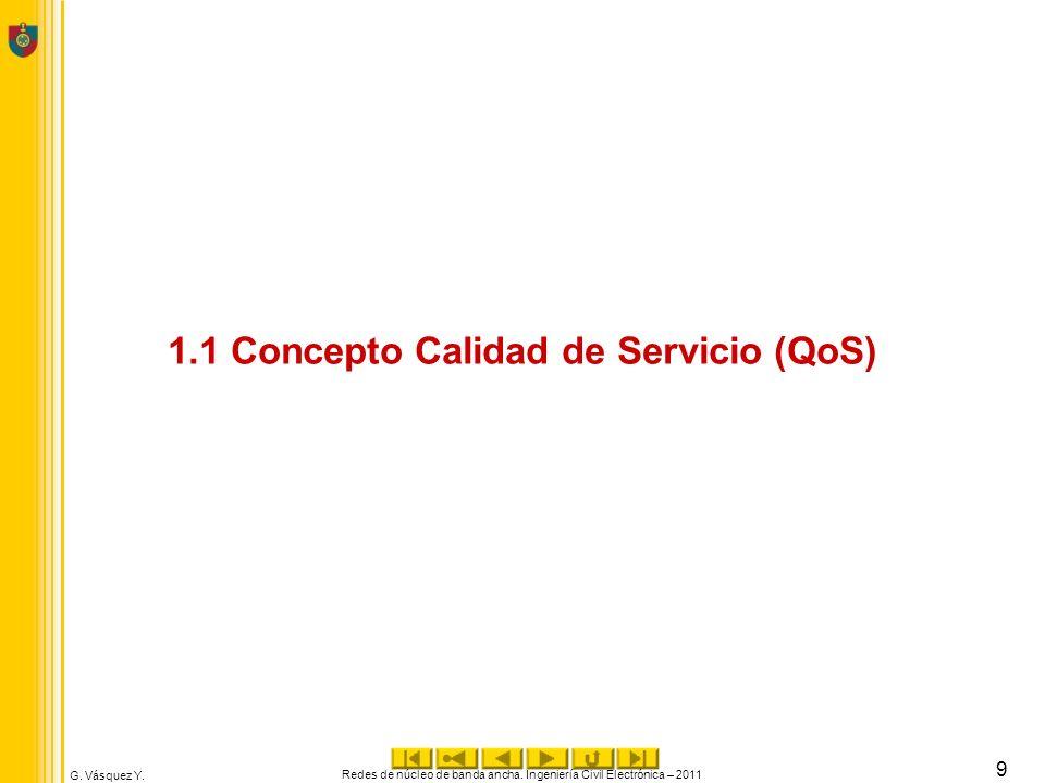 G. Vásquez Y. 1.1 Concepto Calidad de Servicio (QoS) Redes de núcleo de banda ancha. Ingeniería Civil Electrónica – 2011 9