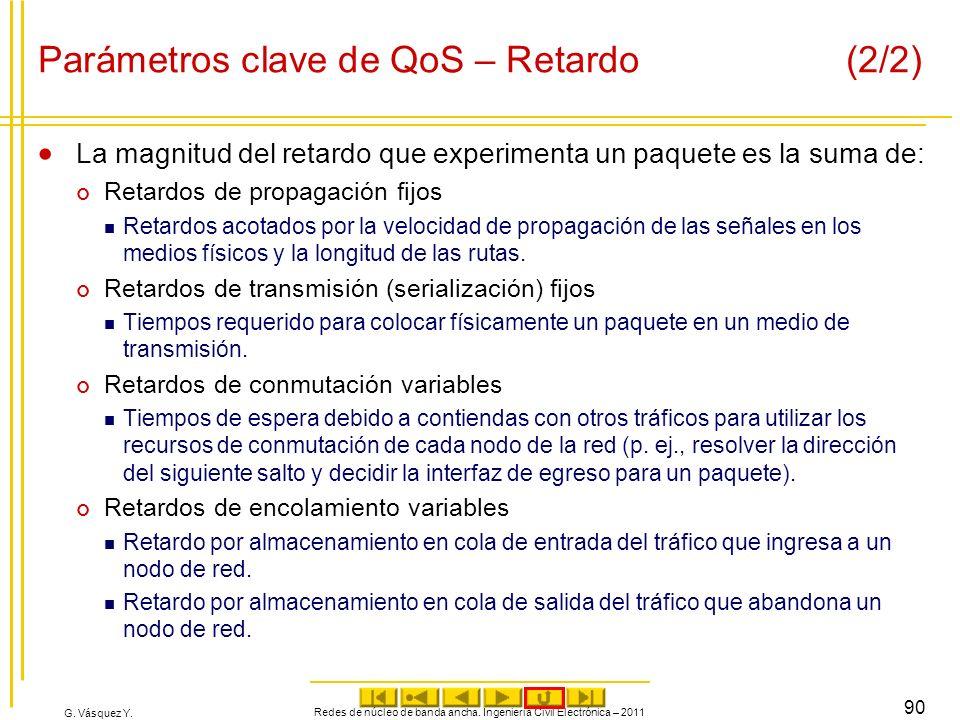 G. Vásquez Y. Parámetros clave de QoS – Retardo (2/2) La magnitud del retardo que experimenta un paquete es la suma de: Retardos de propagación fijos