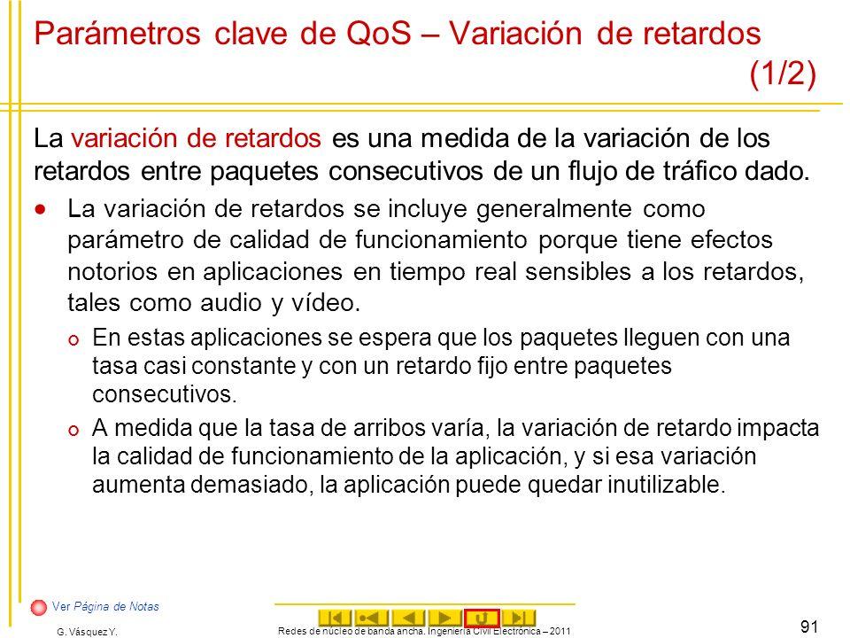 G. Vásquez Y. Parámetros clave de QoS – Variación de retardos (1/2) La variación de retardos es una medida de la variación de los retardos entre paque