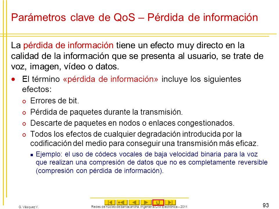G. Vásquez Y. Parámetros clave de QoS – Pérdida de información La pérdida de información tiene un efecto muy directo en la calidad de la información q