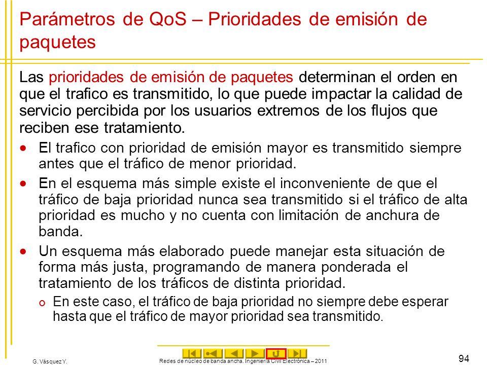 G. Vásquez Y. Parámetros de QoS – Prioridades de emisión de paquetes Las prioridades de emisión de paquetes determinan el orden en que el trafico es t