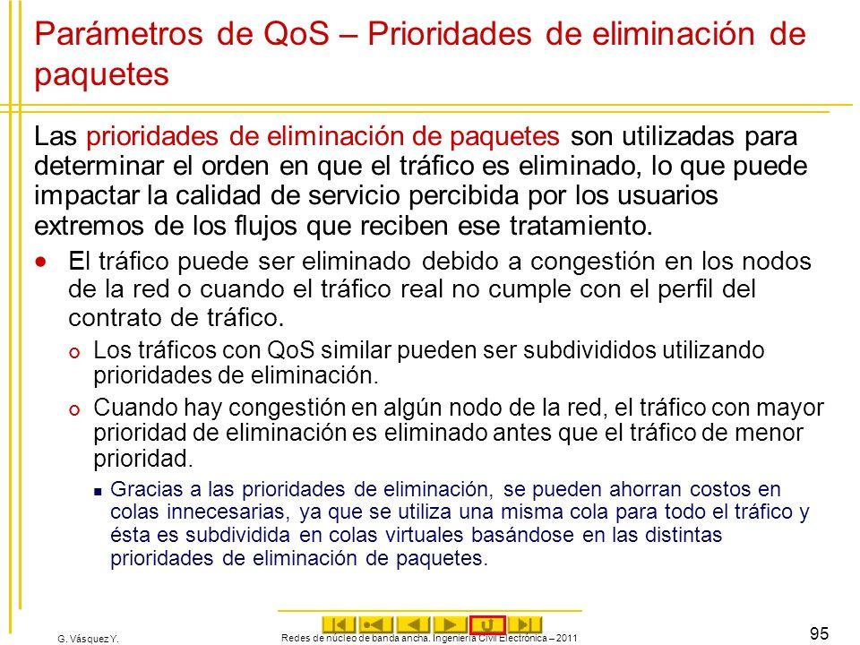 G. Vásquez Y. Parámetros de QoS – Prioridades de eliminación de paquetes Las prioridades de eliminación de paquetes son utilizadas para determinar el