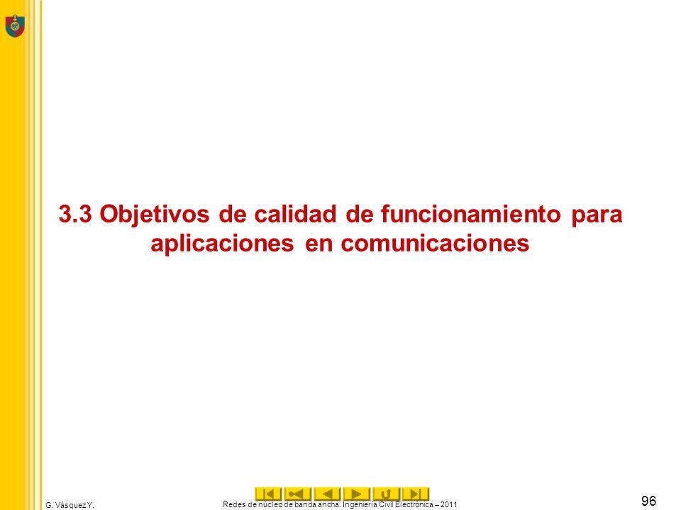 G. Vásquez Y. 3.3 Objetivos de calidad de funcionamiento para aplicaciones en comunicaciones Redes de núcleo de banda ancha. Ingeniería Civil Electrón