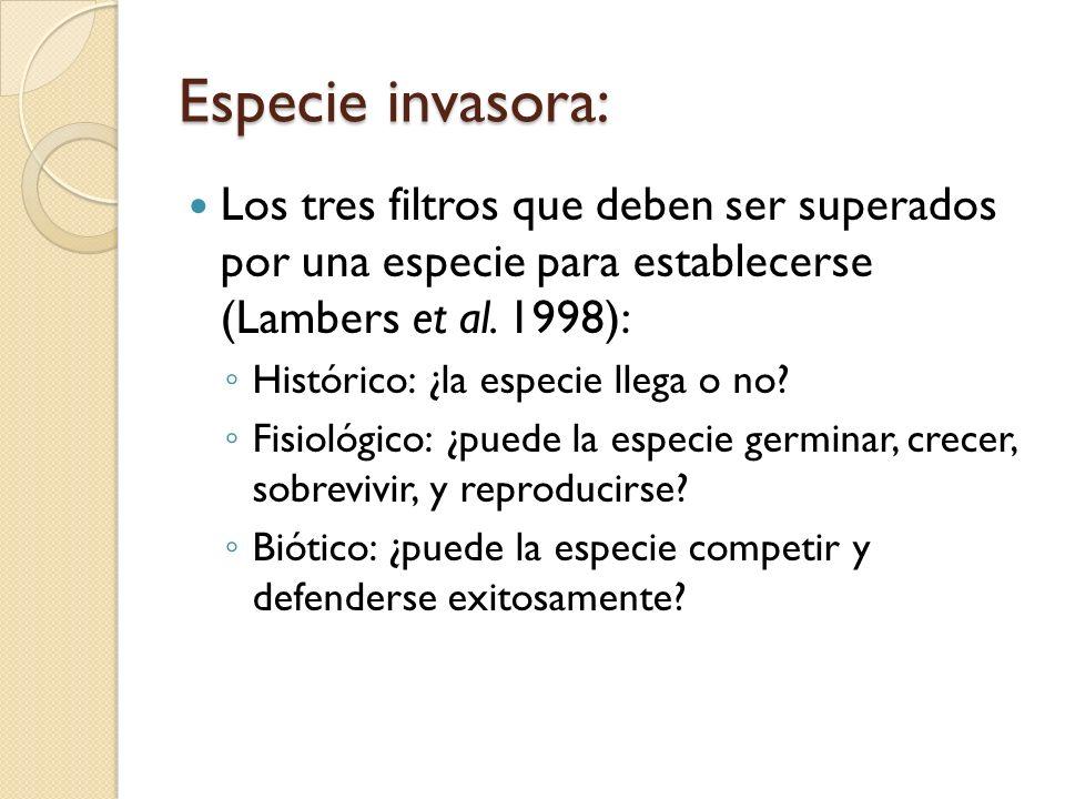 Especie invasora: Los tres filtros que deben ser superados por una especie para establecerse (Lambers et al. 1998): Histórico: ¿la especie llega o no?