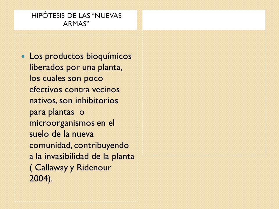 HIPÓTESIS DE LAS NUEVAS ARMAS Los productos bioquímicos liberados por una planta, los cuales son poco efectivos contra vecinos nativos, son inhibitori