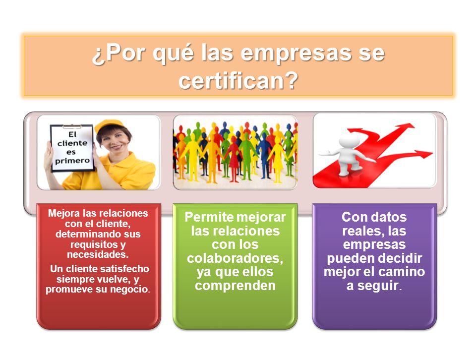 ¿Por qué las empresas se certifican? Mejora las relaciones con el cliente, determinando sus requisitos y necesidades. Un cliente satisfecho siempre vu