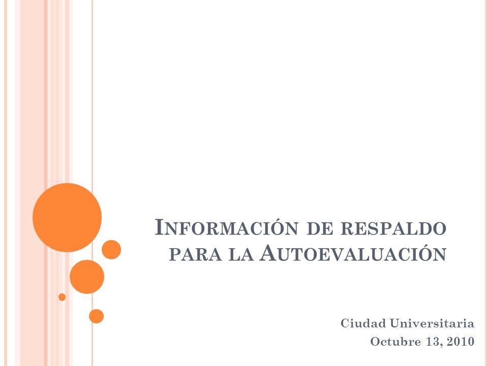 I NFORMACIÓN DE RESPALDO PARA LA A UTOEVALUACIÓN Ciudad Universitaria Octubre 13, 2010