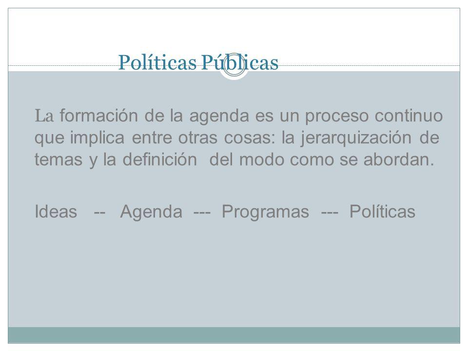 Políticas Públicas La formación de la agenda es un proceso continuo que implica entre otras cosas: la jerarquización de temas y la definición del modo como se abordan.