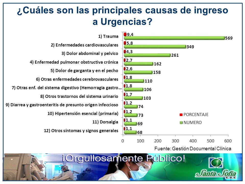 Fuente: Gestión Documental Clínica ¿Cuáles son las principales causas de ingreso a Urgencias?