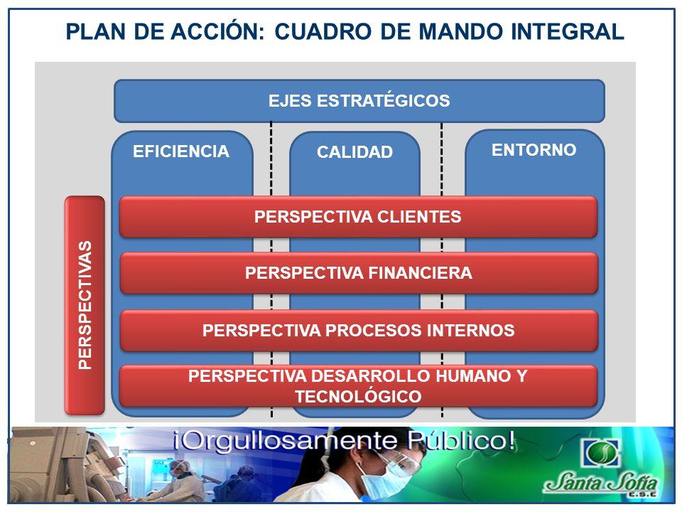 PLAN DE ACCIÓN: CUADRO DE MANDO INTEGRAL EFICIENCIA PERSPECTIVAS CALIDAD ENTORNO EJES ESTRATÉGICOS PERSPECTIVA CLIENTES PERSPECTIVA FINANCIERA PERSPEC