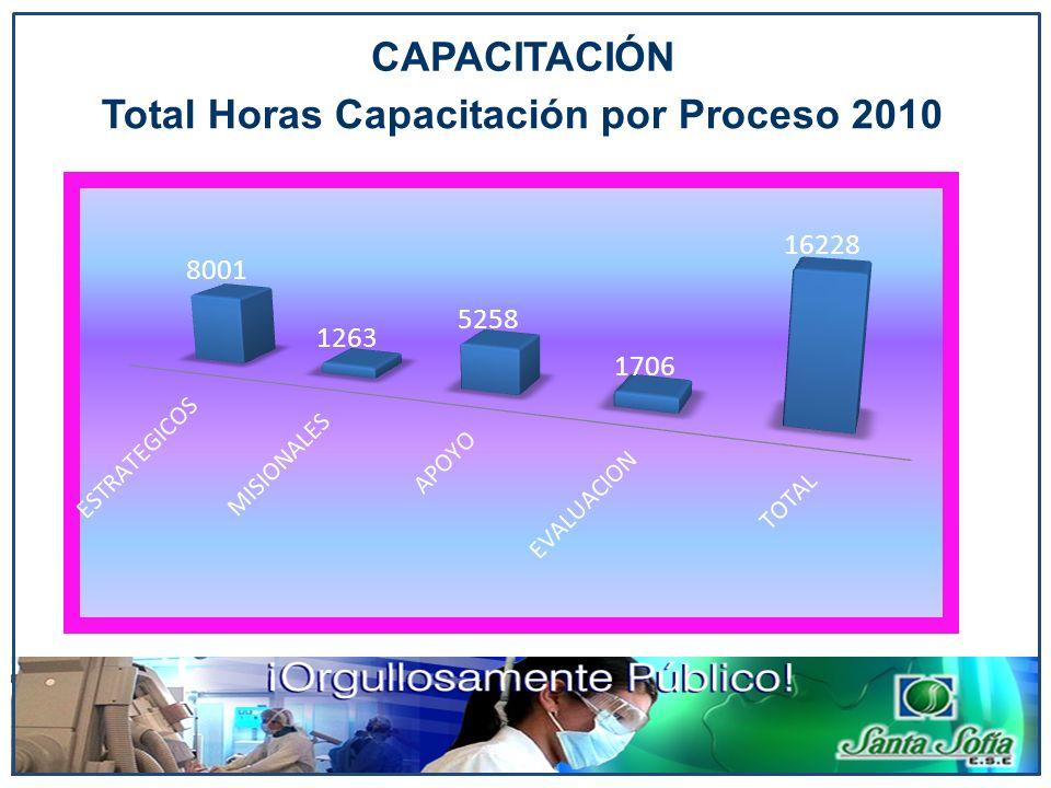 CAPACITACIÓN Total Horas Capacitación por Proceso 2010