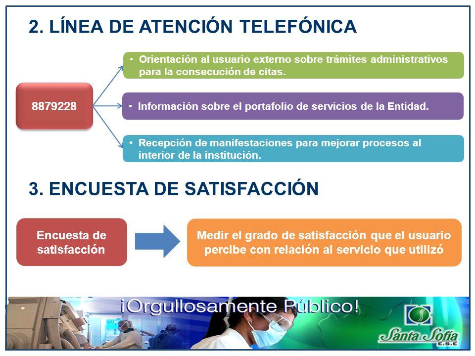 2. LÍNEA DE ATENCIÓN TELEFÓNICA 8879228 Orientación al usuario externo sobre trámites administrativos para la consecución de citas. Información sobre