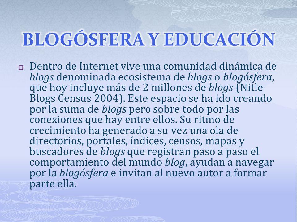 Dentro de Internet vive una comunidad dinámica de blogs denominada ecosistema de blogs o blogósfera, que hoy incluye más de 2 millones de blogs (Nitle Blogs Census 2004).