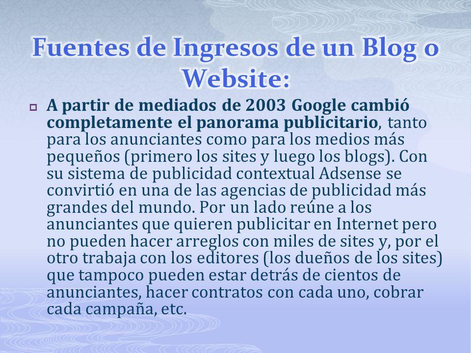 A partir de mediados de 2003 Google cambió completamente el panorama publicitario, tanto para los anunciantes como para los medios más pequeños (primero los sites y luego los blogs).