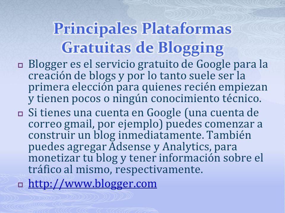 Blogger es el servicio gratuito de Google para la creación de blogs y por lo tanto suele ser la primera elección para quienes recién empiezan y tienen pocos o ningún conocimiento técnico.