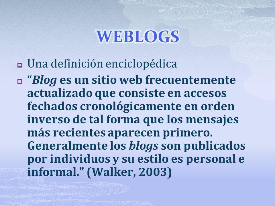Una definición enciclopédica Blog es un sitio web frecuentemente actualizado que consiste en accesos fechados cronológicamente en orden inverso de tal forma que los mensajes más recientes aparecen primero.