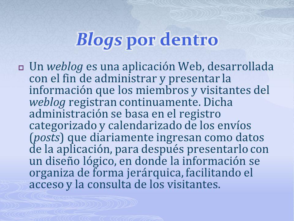 Un weblog es una aplicación Web, desarrollada con el fin de administrar y presentar la información que los miembros y visitantes del weblog registran continuamente.