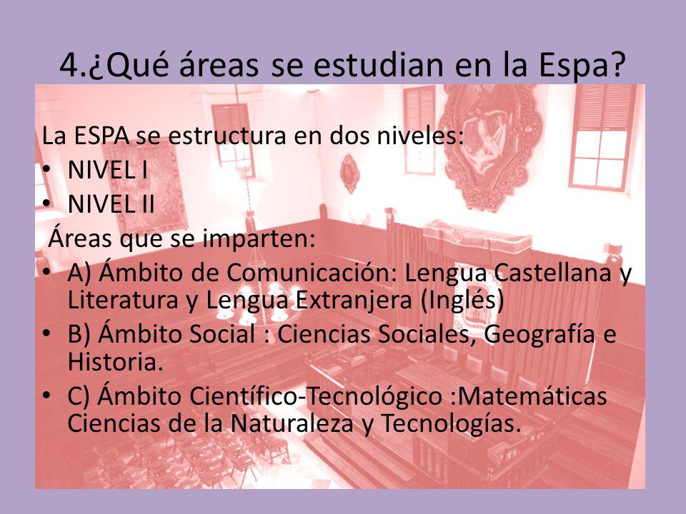 4.¿Qué áreas se estudian en la Espa.