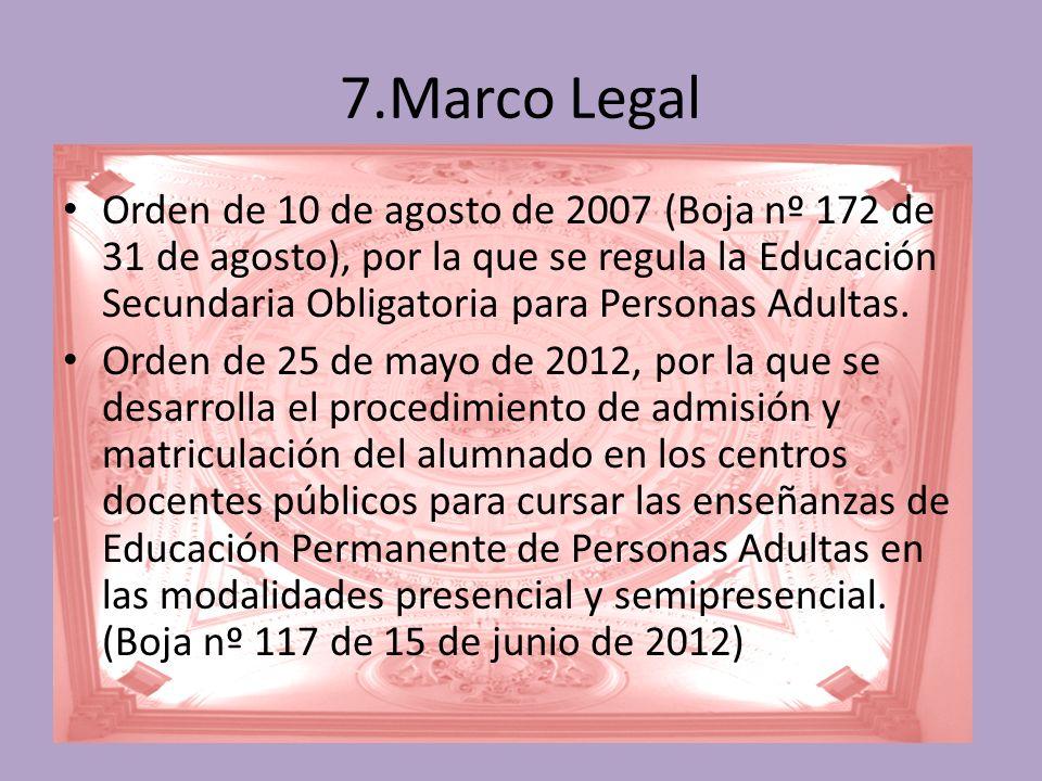 7.Marco Legal Orden de 10 de agosto de 2007 (Boja nº 172 de 31 de agosto), por la que se regula la Educación Secundaria Obligatoria para Personas Adultas.