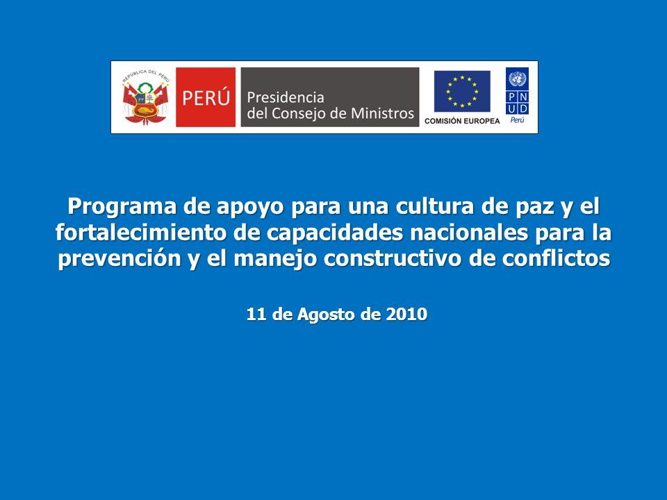 Programa de apoyo para una cultura de paz y el fortalecimiento de capacidades nacionales para la prevención y el manejo constructivo de conflictos 11