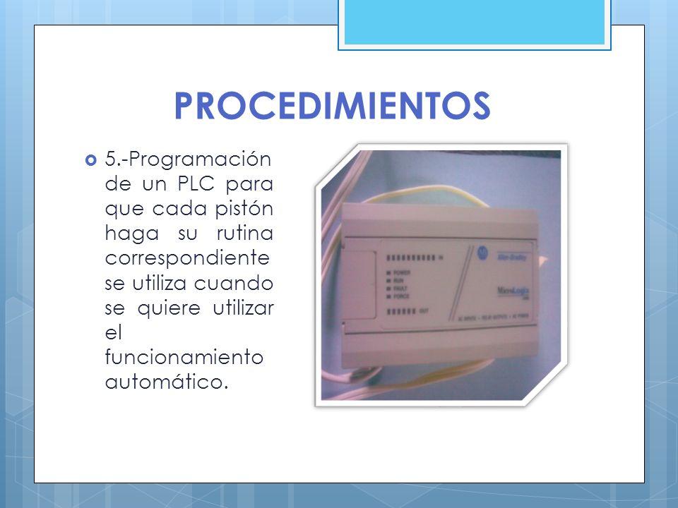 PROCEDIMIENTOS 5.-Programación de un PLC para que cada pistón haga su rutina correspondiente se utiliza cuando se quiere utilizar el funcionamiento au