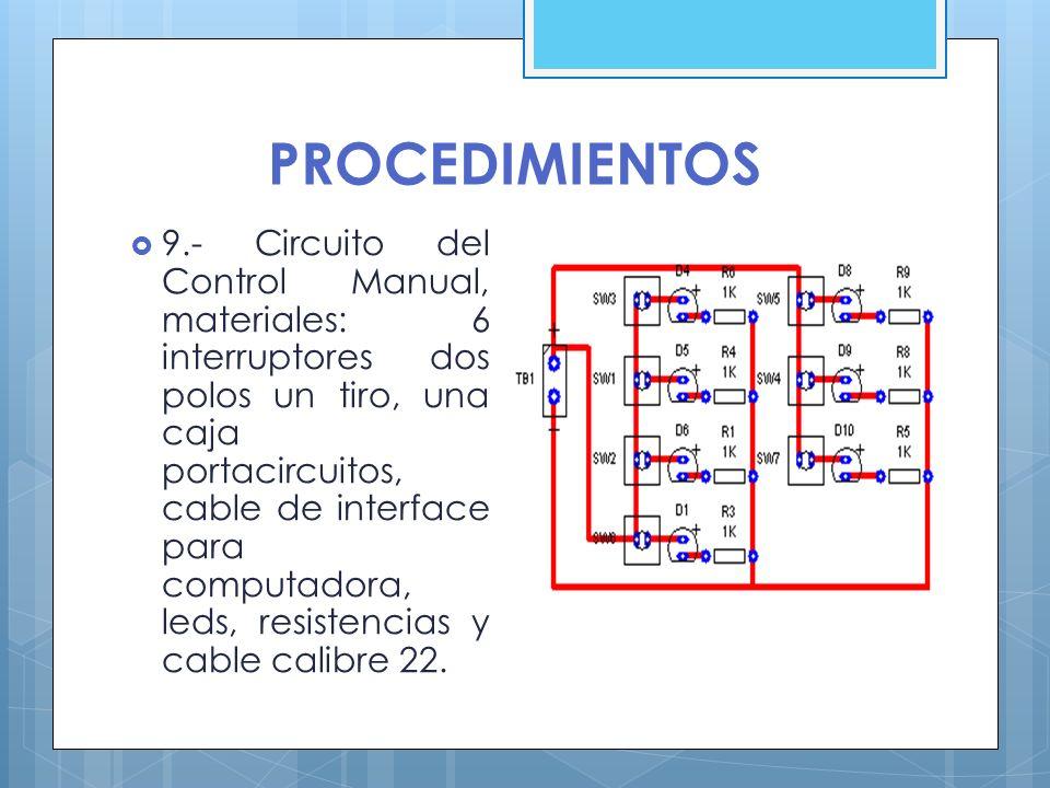PROCEDIMIENTOS 9.- Circuito del Control Manual, materiales: 6 interruptores dos polos un tiro, una caja portacircuitos, cable de interface para comput
