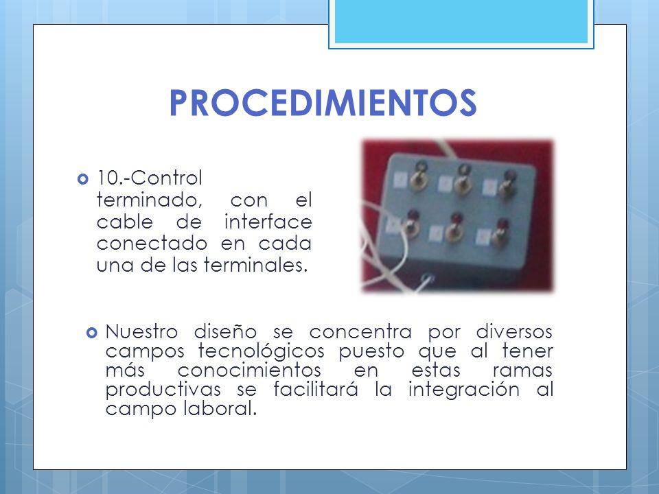 PROCEDIMIENTOS 10.-Control terminado, con el cable de interface conectado en cada una de las terminales. Nuestro diseño se concentra por diversos camp