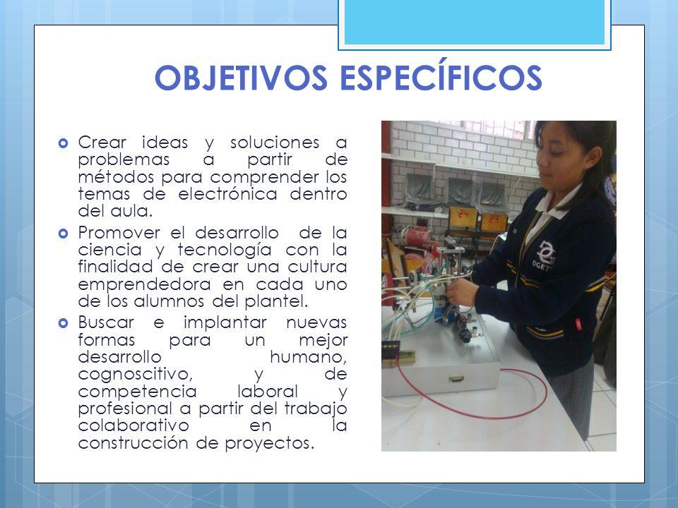 OBJETIVOS ESPECÍFICOS Crear ideas y soluciones a problemas a partir de métodos para comprender los temas de electrónica dentro del aula. Promover el d