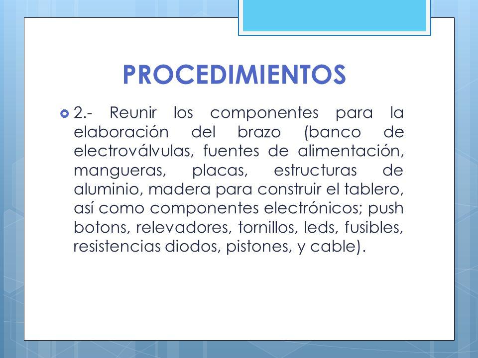 PROCEDIMIENTOS 2.- Reunir los componentes para la elaboración del brazo (banco de electroválvulas, fuentes de alimentación, mangueras, placas, estruct