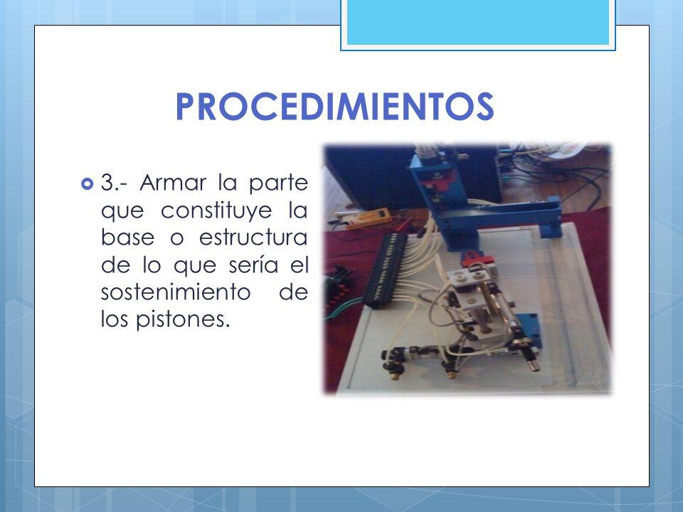 PROCEDIMIENTOS 4.- Conectar las mangueras a las electroválvulas y a los pistones, para cuando se le aplique el aire entre a las electroválvulas reguladoras de presión