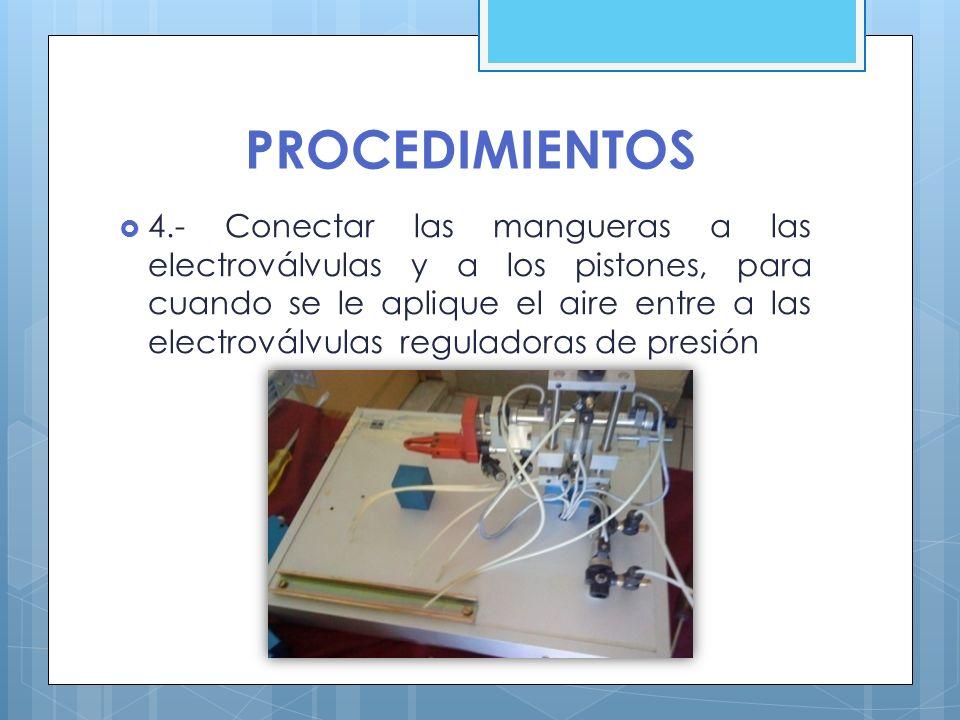 PROCEDIMIENTOS 4.- Conectar las mangueras a las electroválvulas y a los pistones, para cuando se le aplique el aire entre a las electroválvulas regula