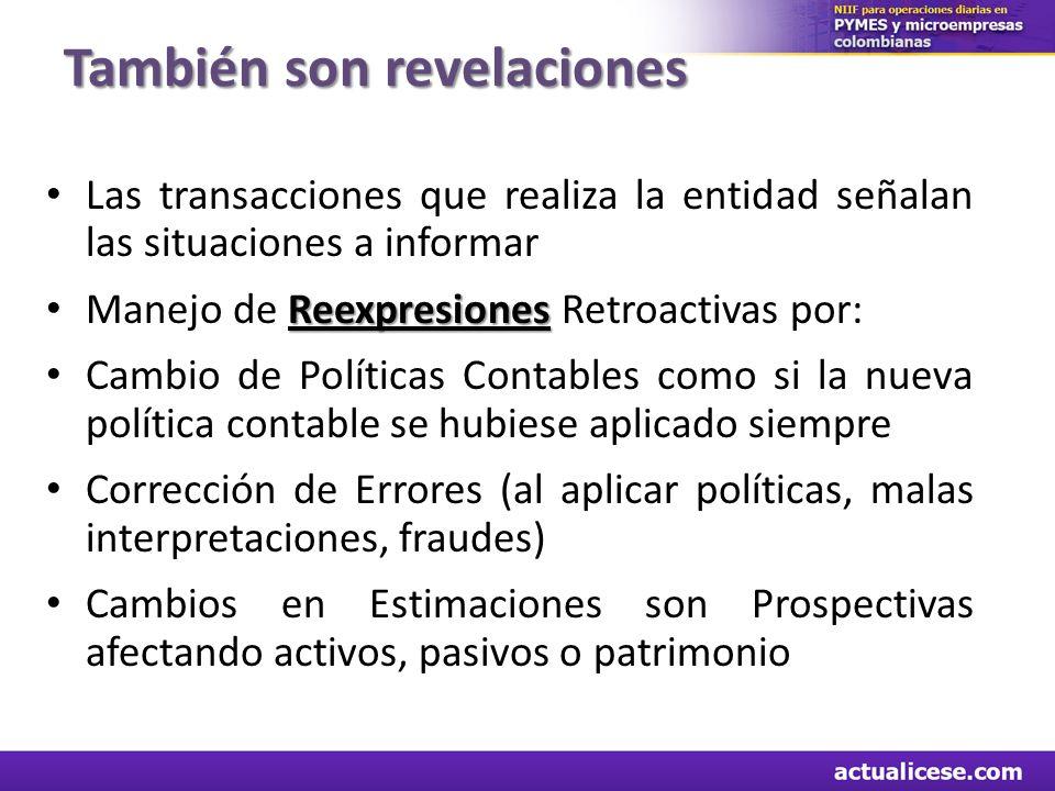 También son revelaciones Las transacciones que realiza la entidad señalan las situaciones a informar Reexpresiones Manejo de Reexpresiones Retroactiva